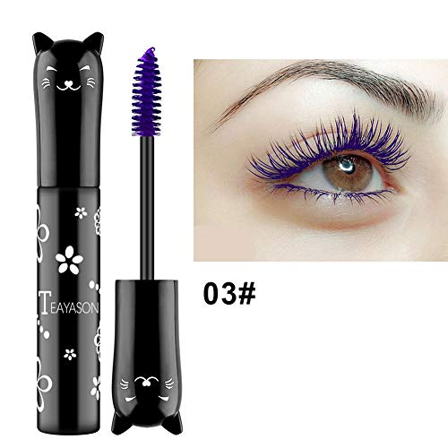 Rabusion Health For Cute Cat Style 4D Thick Curling Fiber Waterproof Mascara Pigmented Cosplay Mascaras Makeup 3 purple