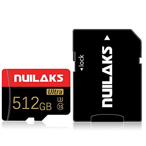 512GB Micro SD Karte mit Adapter High Speed MicroSD Karte für Nintendo Switch, Class 10 Speicherkarte für Android Smartphone Digitalkamera Tablet und Drohne