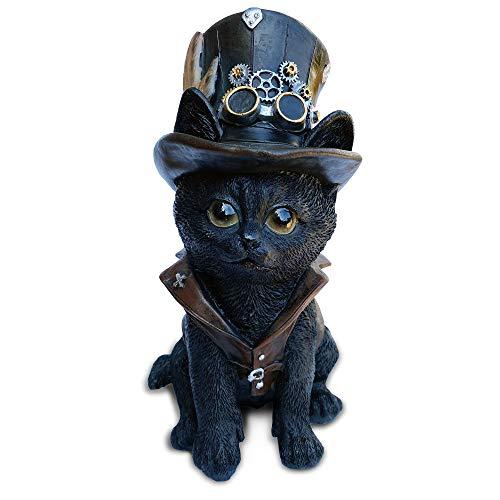 Objectz Steampunk Cogsmiths Cat, kleine Schwarze Katze mit Zylinderhut und Zahnräder, außergewöhnliche Dekofigur - Skulptur Fantasy Figur - Halloween Horror Deko, Höhe 18,3 cm