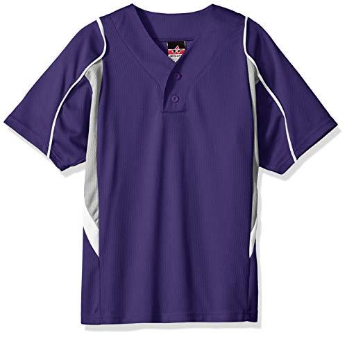 Alleson Ahtletic Jungen Jugend Baseball Trikot, Jungen, Baseball-Trikot für Jugendliche, Lila/Grau/Weiß, Large
