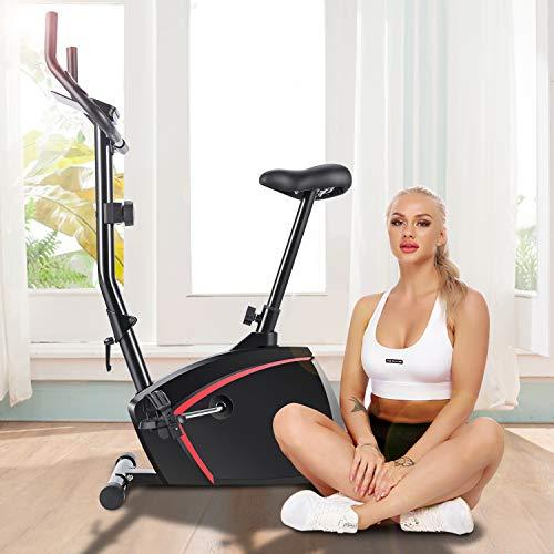 419Si0eQpNL - ANCHEER Bicicleta de Fitness 10 Niveles de Resistencia Magnética, Bicicleta Estática con Pantalla LCD, Bicicleta Ejercicio en Casa Soporte para Movil/iPad, Mango de Impulso, Carga Máxima: 120KG