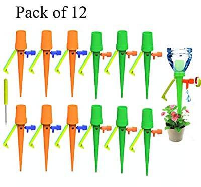 DANALLAN [Upgraded Version 12PC Vacation Watering Plants Water Spikes - Automatic Drip Irrigation with Slow Release Control Valve Switch and Bracket for Indoor Outdoor, Fit for Most Bottles from DANALLAN