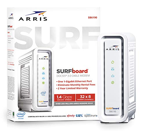 ARRIS SURFboard (32x8) Docsis 3.0 Cable Modem, Certified for Xfinity, Spectrum, Cox & More (SB6190 White)