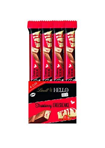 Lindt HELLO Sticks Strawberry Cheesecake, Vollmilch-Schokolade mit Erdbeer-Quarkcrmème-Füllung, 24er Pack (24 x 39 g)