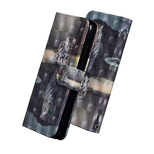 sinogoods Für Motorola One Macro/Moto G8 Play Hülle, Premium PU Leder Schutztasche Klappetui Brieftasche Handyhülle, Standfunktion Flip Wallet Hülle Cover - Katze Tiger
