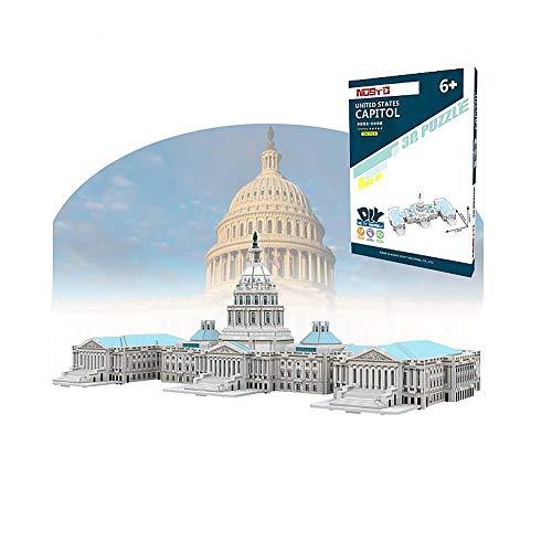 SLCE 3D Niños Puzzle, Capitolio De Los Estados Unidos 3D Rompecabezas De Kit De Construcción Sin Pegamento, Laser Cut Puzzle, Divertido Regalo para Niños Y Adultos, 96 Piezas