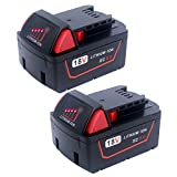 Lasica 2-Pack 5.0Ah M18 18V Lithium Battery Replacement Milwaukee M18 Battery 48-11-1850 for Milwaukee M18 18V Cordless Tools 2696-26 2890-20 48-11-1815 48-11-1820 48-11-1852 M18 Milwaukee Battery