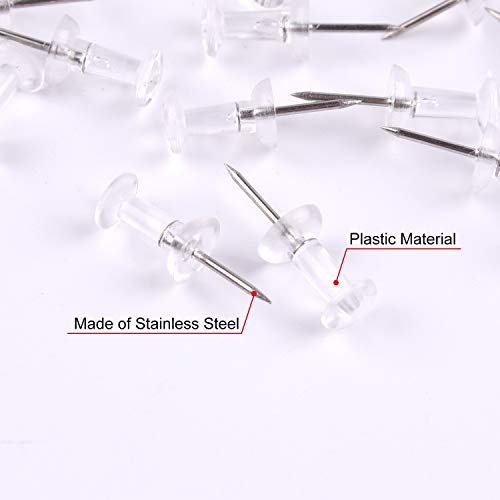 TUPARKA 150 Pcs Clear Push Pins Map Pins Thumb Tacks for Notice Board Plastic Head with Steel Points Pins