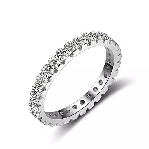 BAJIE Anillo de Bodas Anillo de Diamantes de Color Plata esterlina 925 Anillo de Bodas de Diamantes Blancos Reales para joyería de Piedras Preciosas Femeninas Rin