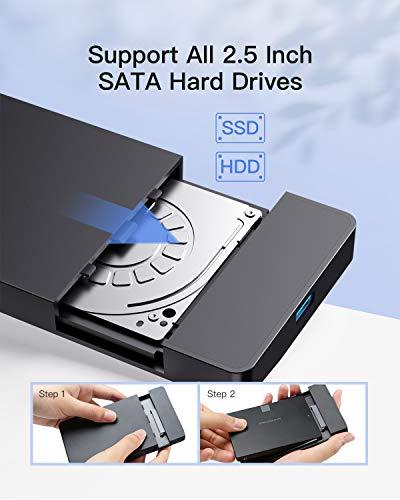 Inateck Festplattengehäuse 2 5 Zoll USB 3.0, Externes HDD Gehäuse für 7 mm/ 9,5 mm 2,5