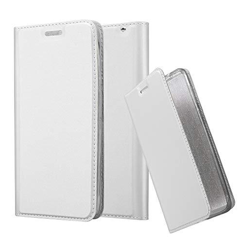 Cadorabo Hülle für Motorola Moto X Play - Hülle in Silber – Handyhülle mit Standfunktion & Kartenfach im Metallic Erscheinungsbild - Hülle Cover Schutzhülle Etui Tasche Book Klapp Style