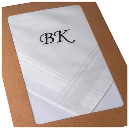 Merrysquare - Gestickte mit Monogramm weiße Taschentücher - Grosse Größe 45 cm - 3 Stück