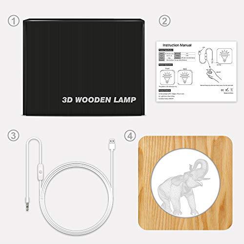 Lámpara de mesa 3D de elefante tridimensional que cambia de color, regalo para niños, lámpara de armario de acrílico LED, decoración de sala de tallado   colección de lámpara de mesa, regalo