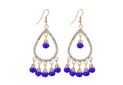 JIAJBG Studded Drop-Shaped Earrings Female Jewelry Earrings Tassels Personality Fashion Earrings Earrings Female Accessories Retro/Blue
