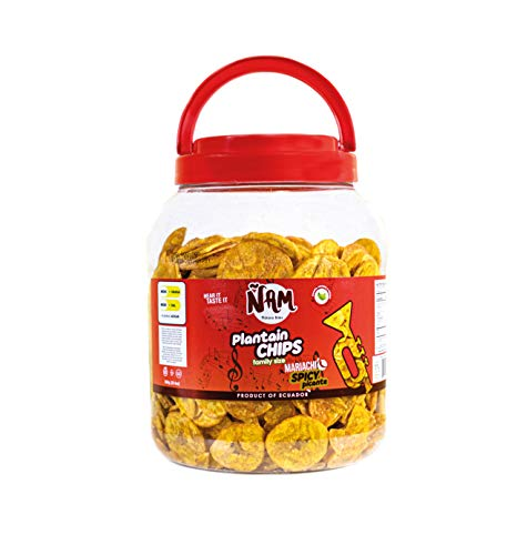 ÑAM Plantain Chips Mariachi Spicy Flavored 28.4 Oz (800 g.) Plastic Jar (Mariachi Spicy, Pack of 1)