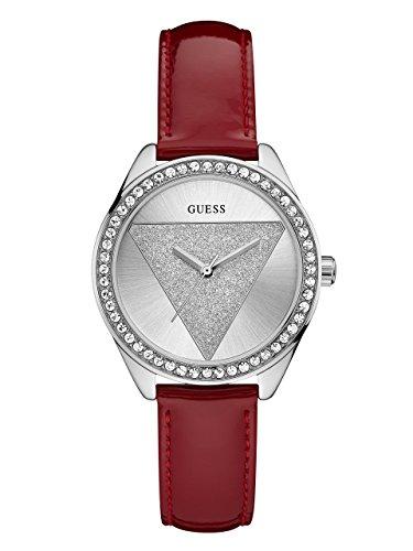 GUESS Tri Glitz Damen-Armbanduhr 36mm Armband Leder Lila Quarz Analog W0884L1