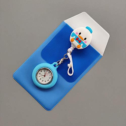 Cxypeng Reloj de Bolsillo Reloj Médico,Reloj telescópico de Silicona para Enfermeras, Estuche para bolígrafos, Reloj de Pecho Resistente al Agua y portátil-KE007,Reloj Enfermera Enfermera Broche