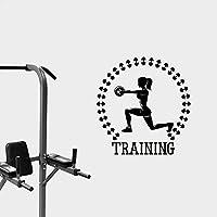 フィットネスジムスポーツウォールステッカーバーベルワークアウトモチベーション女性Athtleticsトレーニングウェイトライフスタイルアートビニール壁壁画デカール32X30cm