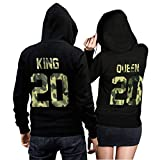 CVLR King Queen Pullover Pärchen Set Camouflage- 2 Hoodies für Paare - Couple-Pullover - Geschenk-Idee (King L + Queen M)