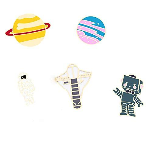 Niedliche Emaille-Revers-Brosche, Anstecknadel-Set, Cartoon-Astronaut, Raumschiff-Brosche, Neuheit, lustige Anstecknadeln für Frauen, Mädchen, Jungen, Kleidung, Taschen, Rucksäcke, Jacken, Hut