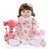 CHUTD Simulationspuppe Reborn Baby, langhaariges Mädchen Baby Blue Eyes Doll mit Kleid und Schnullerflasche Süße Kinder Spielen Hausspiel Puppengeschenk
