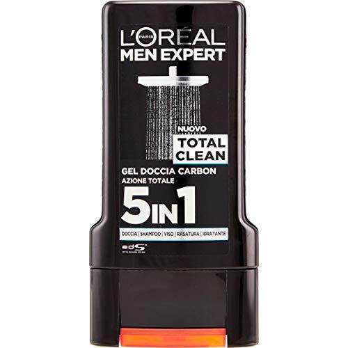 L Oréal Paris Men Expert Gel Doccia Total Clean, Azione Totale 5 in 1, con Carbone, 300 ml