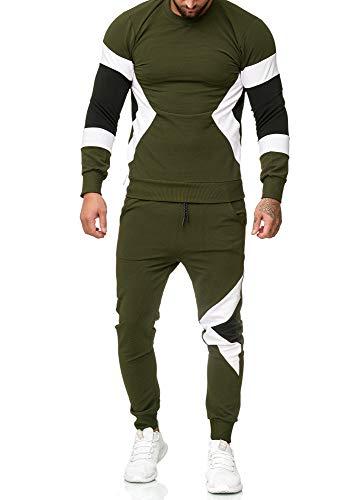 OneRedox | Herren Trainingsanzug | Jogginganzug | Sportanzug | Jogging Anzug | Hoodie-Sporthose | Jogging-Anzug | Trainings-Anzug | Jogging-Hose | Modell 1215 Grün XS