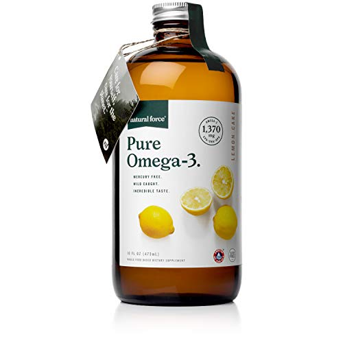 Natural Force Pure Omega 3 - Fish Oil Liquid Supplement for Adults and Kids – Lemon Cake Flavor - Mercury Free, Wild Caught, Lab Tested - 1,370 mg Triglyceride EPA, DHA, & DPA - 16 Oz Glass Bottle