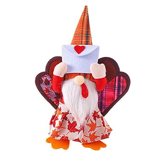 CYGG Thanksgiving Truthahnzwerg Dekoration Elf Herbstzwerg Ornament Plüsch skandinavischen Tomte Nisse Schwedisch, Halloween Dekoration, Weihnachtsdekoration, zum Dekorieren von Innenhöfen, Indoo