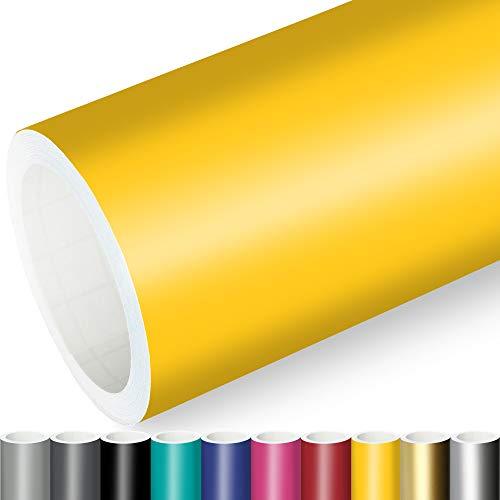 Actinium® Klebefolie 7€/m² Gelb Matt | 5m x 0,63m selbstklebende matte Folie | Möbelfolie selbstklebend Küchenfolie Plotterfolie