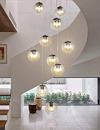 ZJJZ Candelabros de Escalera 10 Bolas de Vidrio Luces múltiples Sala de Estar Creativa Moderna luz Colgante Burbujas de Vidrio Villa lámpara de Techo apartamento dúplex escaleras de Caracol cande