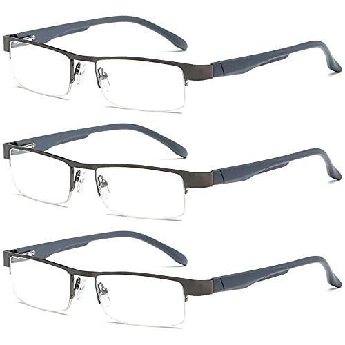 VEVESMUNDO Lesebrillen Herren Damen Klassische Metall Halbrandbrille Lesehilfe Federschaniere Klar Brille Augenoptik Vintage Sehhilfe Arbeitsplatzbrille Sehstärke (3 Stück Lesebrillen in Grau, 2.5)
