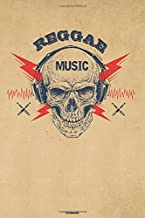 Reggae Music Notebook: Skull with Headphones Reggae Music Journal 6 x 9 inch 120 lined pages gift