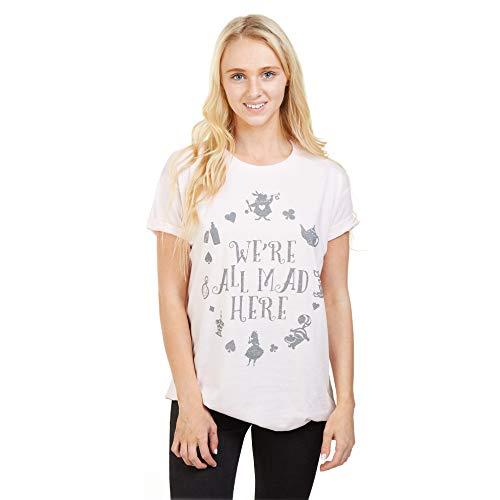 Disney Alice In Wonderland Mad Here Camiseta, Rosa (Pale Pink Pnk), 38 (Talla del Fabricante: Small) para Mujer