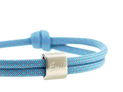 KOMIMAR Kinder Surfer Armband mit Kindes Namen - persönlicher PRÄGUNG/GRAVUR in vielen Farben - Kinder Armband - personalisiert - Kinderschmuck - Armreif - Geschenkidee