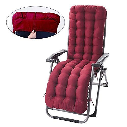 ZTMN Garden Sun Lounger Cushion Pads Non-Slip Thicken Rocking chair cushions Patio Furniture Overstuffed Bench cushion-170x53cm Burgundy