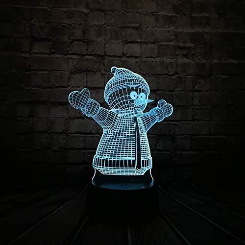 Weihnachtsgeschenk 3D Lampe Nachtlicht 3D Roman Led Schöne Schneemann Dekor Nachtlicht Atmosphäre 7 Farben Farbverlauf USB Lampe Joyful Kids Toy Jahr GIF T mit Fernbedienung USB