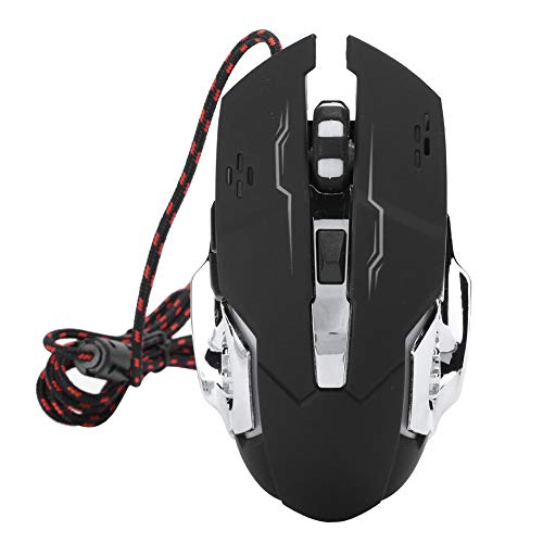 Wired Gaming Mouse, Noiseless Ergonomic Gaming Mouse, USB Optical Computer Mouse with 800/1200/1600‑3200 DPI, for PC Laptop. Black(Black)