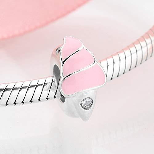 DASFF Hochwertige rosa Emaille cremige EIS 925 Silber Stopper Spacer Perlen passen Original Bettelarmband Schmuckherstellung