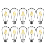 LED Edison Bulb Dimmable, Daylight White 5000K, 60W Equivalent, 6W, 800 Lumens High Brightness, ST64 Vintage Filament Light Bulb, LED Antique Bulbs, CRI 90+, E26 Medium Base, Pack of 10