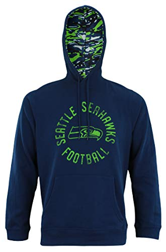 Zubaz NFL Men's Team Camo Lined Pullover Hoodie, Seattle Seahawks XX-Large