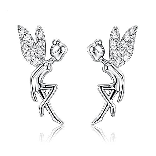 Pendientes Mujer Pendientes Románticos De Plata De Ley 925 Bonitos Elfos De Hadas Exquisitos Pendientes para Mujer Joyería Plata