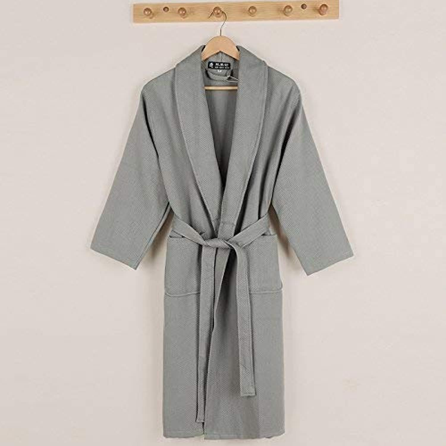 Pyjamas, Cotton Bathrobes Spring and Autumn Thickening Pajamas Couple Long Home Service (color   Grey, Size   S) (color   Grey, Size   S)