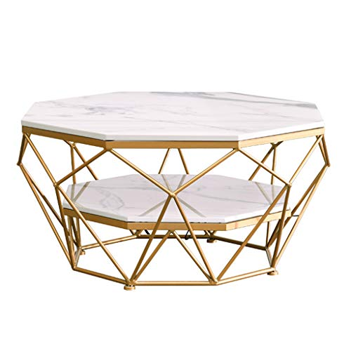 Marble Coffee Table Octagon, 2-Tier Side Table Storage Shelf Metal Frame and Hollow Metal Legs, for Living Room Accent Furniture Beside Sofa Cocktail Table, Black/White