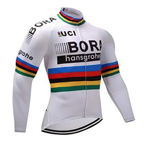 TOPBIKEB Mens fietsshirt met lange mouwen, ademende fietskleding voor Pro Team