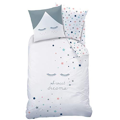 Sterne Mädchen Bettwäsche Set ☆ Sweet Dreams · Wende Motiv mit tollen Sternen & Sternchen/Wimpern · Mint, grau, weiß · 2 teilig - Kissenbezug 80x80 + Bettbezug 135x200 cm - 100% Baumwolle