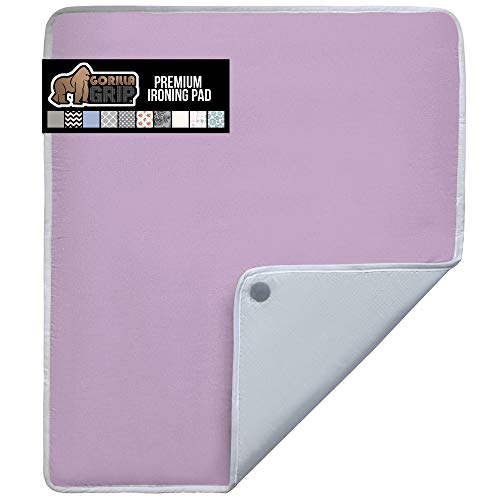 Gorilla Grip Ironing Pad, Magnetic Laundry Pad, Heat and Scorch Resistant, 28x24 Inch, Iron Board Mat for Table, Countertop, Washer, Dryer, Thick Durable Portable Pads Great for Travel, Light Purple