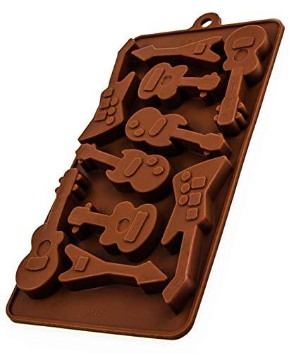 BlueFox Silikonform Gitarren, Eiswürfelform, Pralinenform Silikon, Schokoladenform, Giessform, 21 x 10 x 1,5cm, Süßigkeiten und Pralinen mit Musik, Farbe: Braun