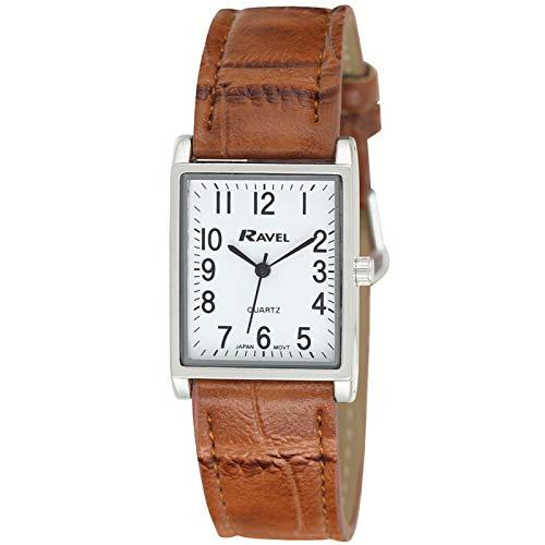 Ravel - Reloj rectangular tradicional unisex con esfera numérica clara - Tono plateado/marrón