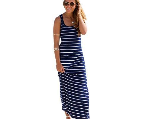 ZKOOO Donna Estate Vestito A Righe Senza Maniche Dress Sciolto Girocollo Semplice Lungo Abito da Spiaggia Partito Abiti Casuale Blu